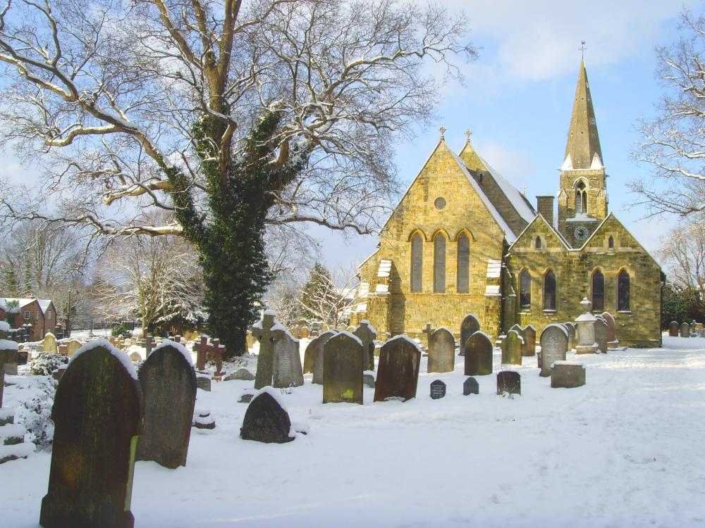 Copthorne Church in Snow